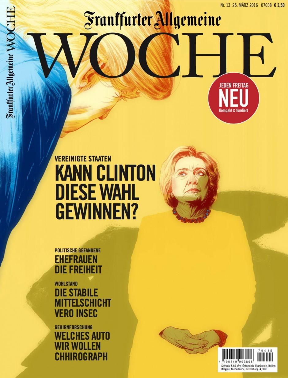 Die kleine Hillary will auch einmal so mächtig werden wie Angela –  Illustration von Mart Klein & Miriam Migliazzi. http://dainz.net/