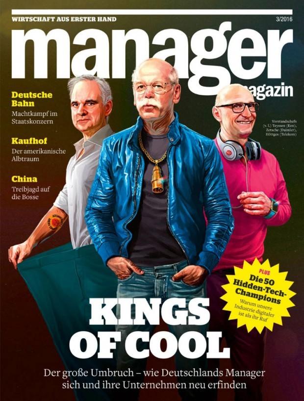 In solchen Outfits erkennen wir die Vorstandschefs von Eon, VW und Telekom kaum wieder. Bloß zwei Tage hatten Mart Klein und Miriam Migliazzi Zeit für die Illustration. http://dainz.net/
