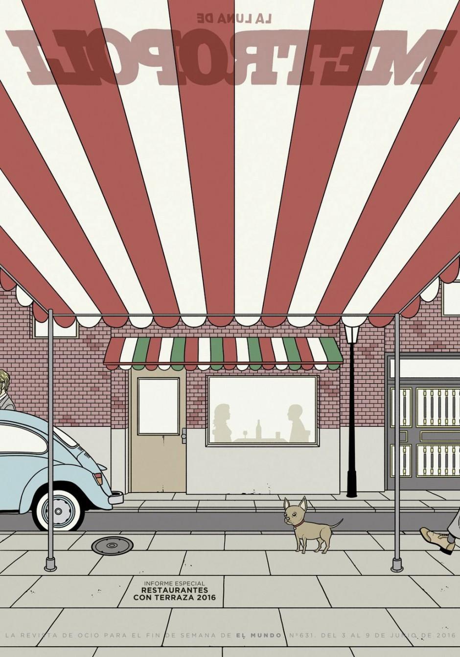 »Metropoli«, die Wochenendeilage der spanischen Tageszeitung »El Mundo«, stellt Restaurants vor, wo man gemütlich auf einer Terrasse sitzen kann. Das Cover OHNE gemütliche Terrassen illustrierte David Sánchez. https://twitter.com/amorlangosta