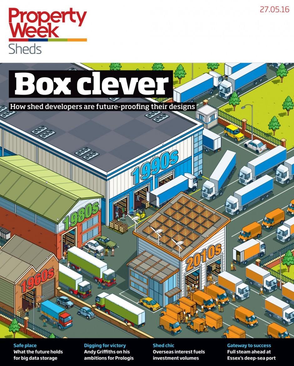 Rod Hunts Coverbild für das Immobilienmagazin »Property Week« arbeitet mit ungewöhnlichen infografischen Mitteln. http://rodhunt.com/