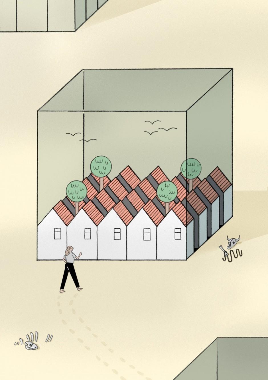 Illustration von Moritz Wienert für das Schweizer Stadtentwicklungsmagazin »Affekt«. Im Artikel geht es um die Herausforderungen, vor die Flülichtlinge westliche Gesellschaften stellen