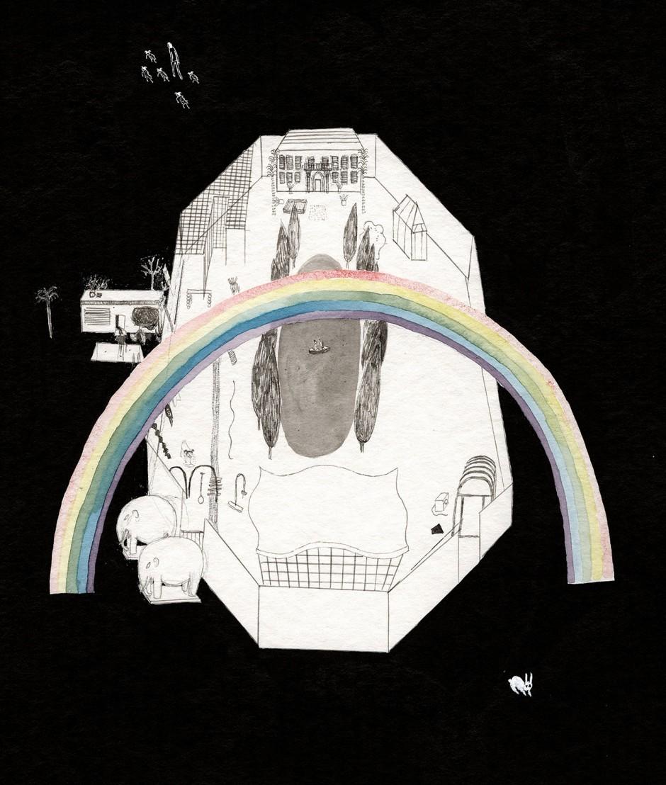 Auf dem Buchrücken steht trotz allem ein hoffnungsvoller Regenbogen über dem Park.