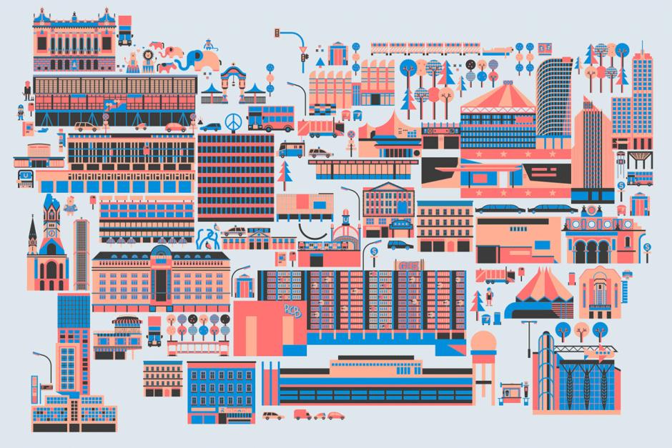 Marius Rehmet lädt mit seinem Berlin-Stadtplan zur Vektor-Safari ein. Der DIN-A1-Print lässt sich für 15 Euro unter http://vojd.net/news/ kaufen
