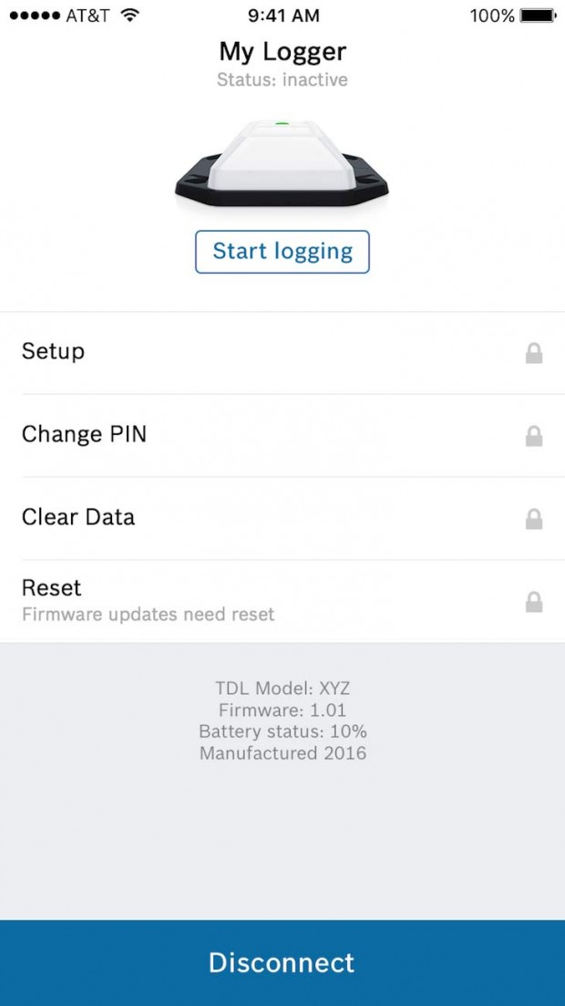 Das (vorerst) finale Design der TDL App: Zuerst sucht die App nach einem Datenlogger in der Nähe. Sobald dieser gefunden ist und eine BLE-Verbindung besteht, kann der Nutzer entscheiden, was er tun möchte: TDL konfigurieren, Daten ansehen, Set-up oder PIN ändern et cetera.