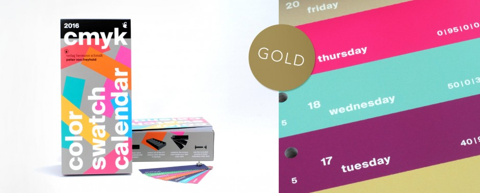 CMYK Color Swatch Calendar 2016 (vonfreyhold visual communication; Autor: Peter von Freyhold; Verlag Hermann Schmidt GmbH & Co. KG)