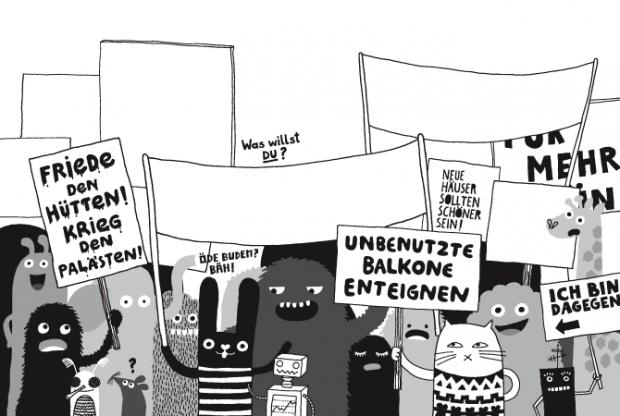Illu für VOLL GEMÜTLICH. Das Kinder Künstlerbuch vom Wohnen und Bauen
