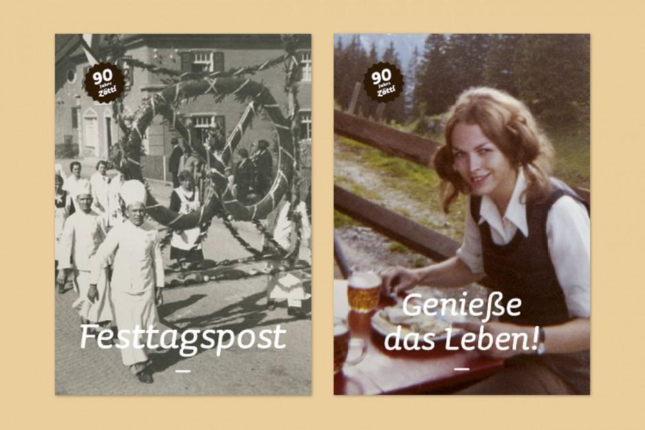 90 Jahre Brotzeit: Postkarten Varianten