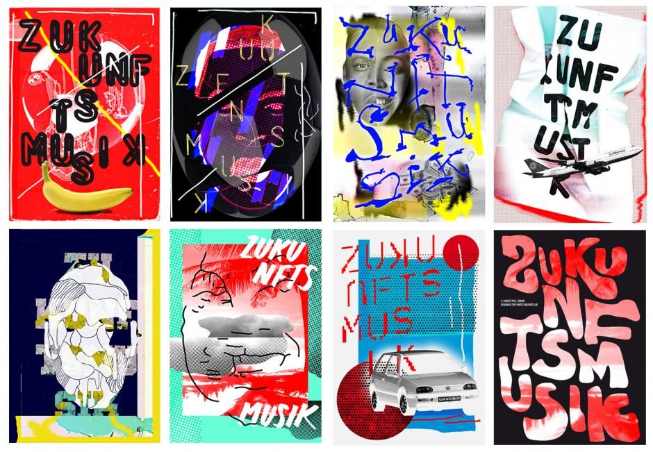 Auswahl verschiedener Poster der Reihe »Zukunftsmusik«