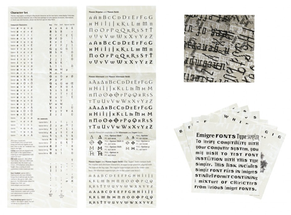Various font packaging inserts, 1990-1996