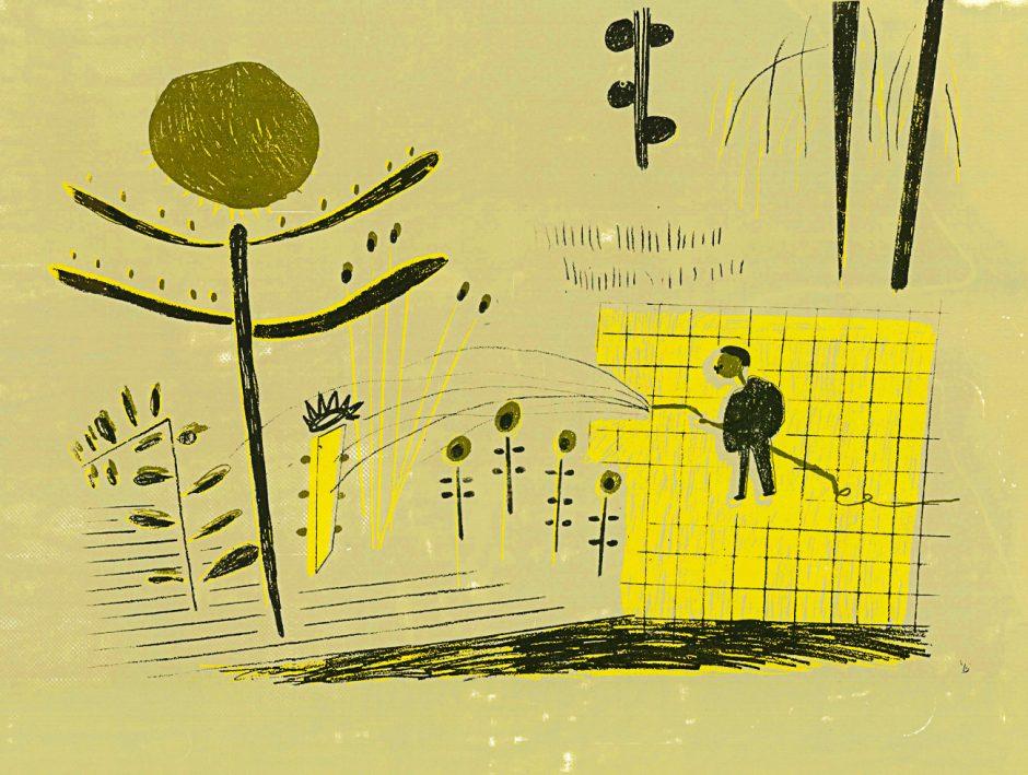 Max Liebermann im Rondell beim Blumensprengen