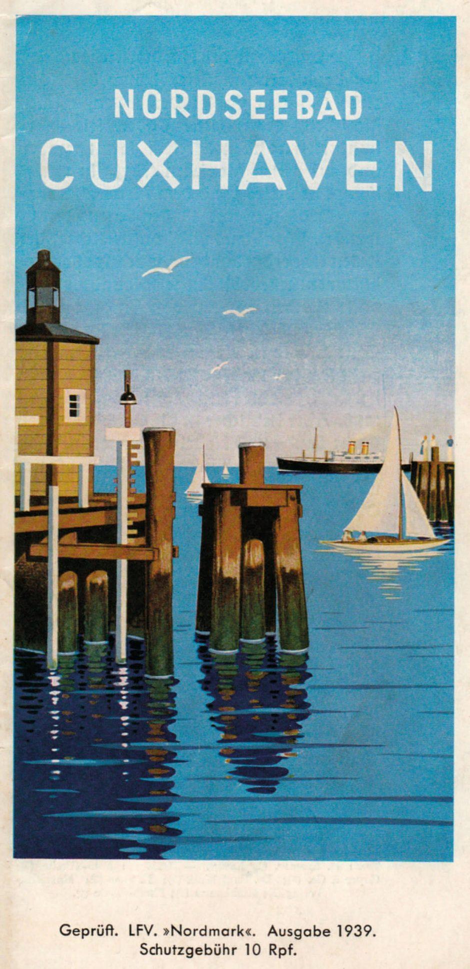 Badeführer aus dem Jahr 1939, erschienen in einer Auflage von 40 000 Stück. Das Motiv zeigt die Einfahrt zum »Alten Hafen«. Offsetdruck nach einem Aquarell von Erwin Staub, Hamburg