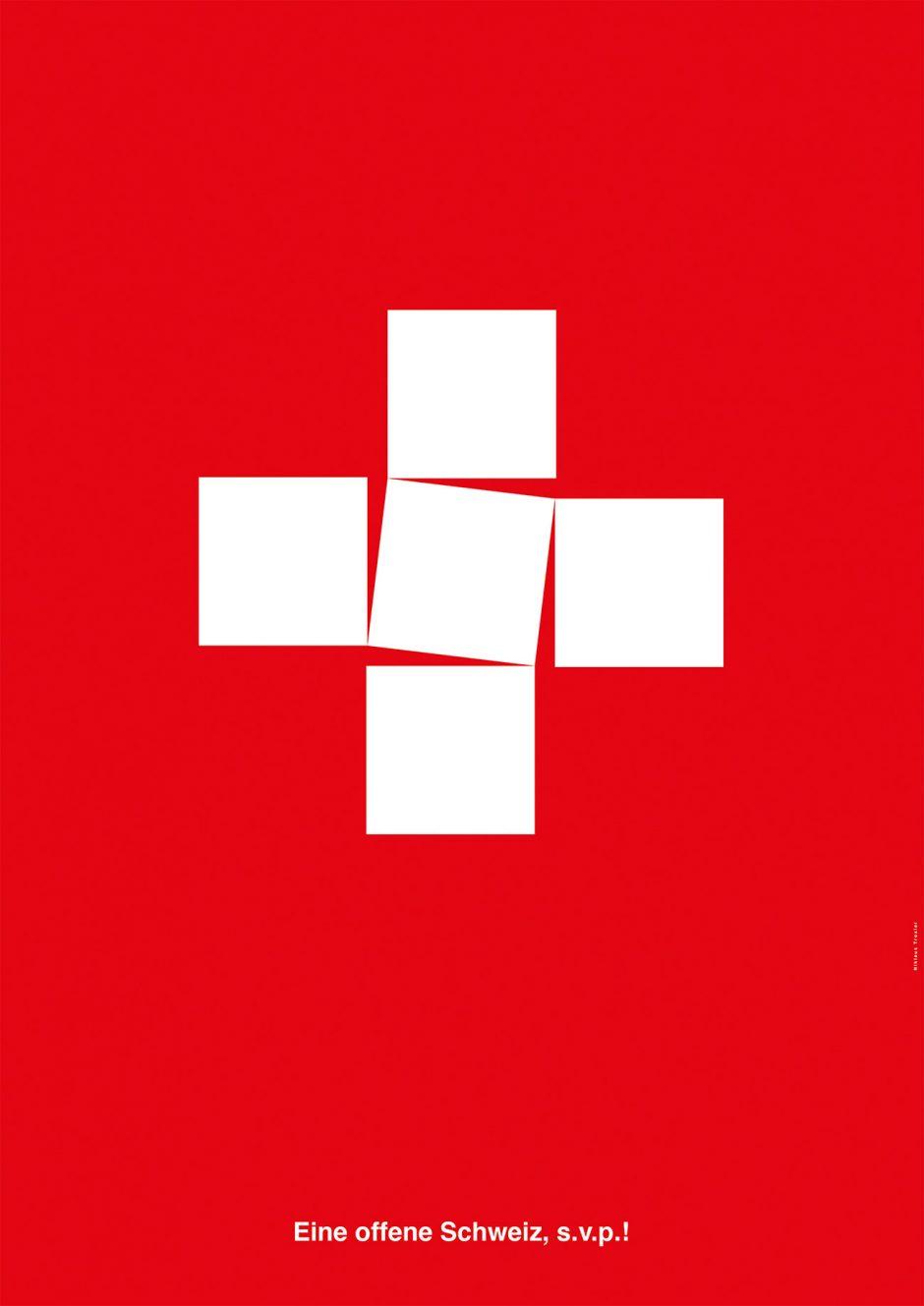 »Die Schweiz soll bitte ihre Grenzen für Flüchtlinge öffnen. In Kleinbuchstaben bedeutet»s.v.p.« (s'il-vous-plaît) auf Französisch»bitte«. (In der Schweiz allgemein verständlich). In Großbuchstaben»SVP« ist es die rechtspopulistische Schweizer Volkspartei, die sich vehement gegen eine Zuwanderung stellt.«