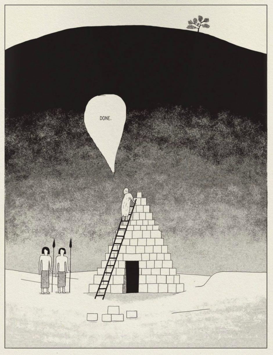 René Rogge: Pyramids. Kassel (rotopolpress) 2016, 32 Seiten. 9 Euro. 978-3-940304-54-4 Eine etwas andere Version vom Bau der Pyramiden von Gizeh, lakonisch von einem jungen Kasseler Illustrator erzählt.