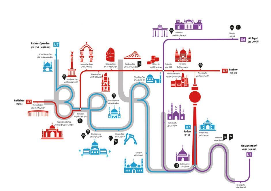 Der zweisprachige Berlin- Fahrplan von Heidi Mohamed beschränkt sich auf die drei wichtigsten U-Bahn- Linien und stellt markante Orte, Kirchen und Moscheen in Piktogrammform dar