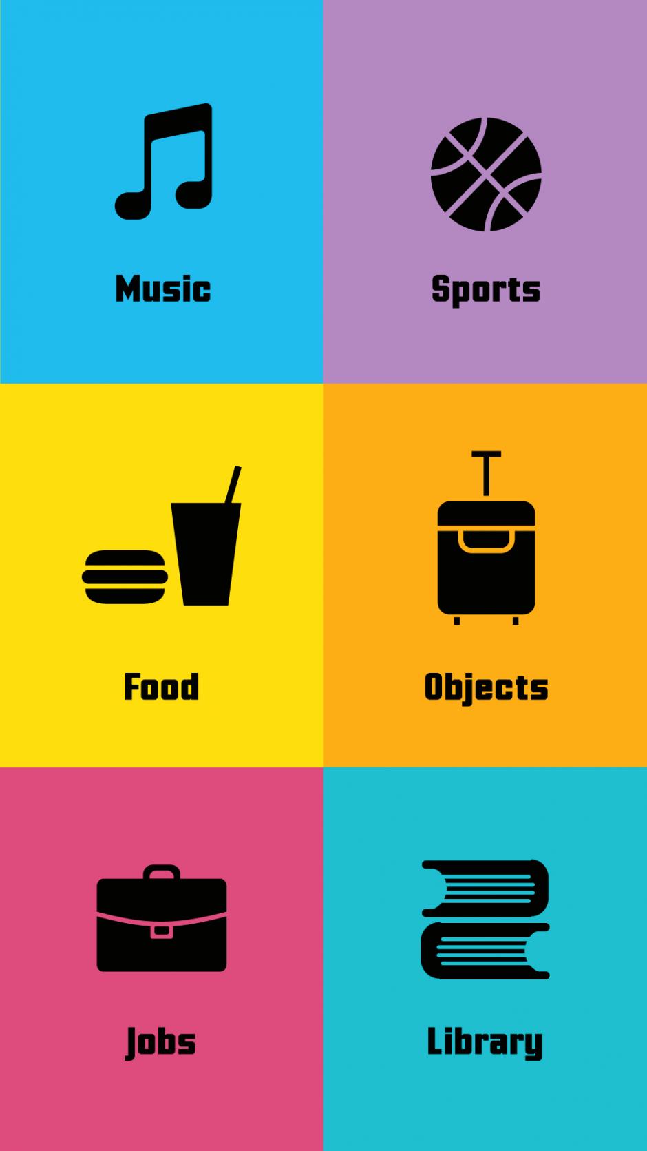 So macht Vokabellernen Spaß – die App Speak it up setzt auf bunte Kacheln, einfache Pikto- gramme und Gamification-Elemente