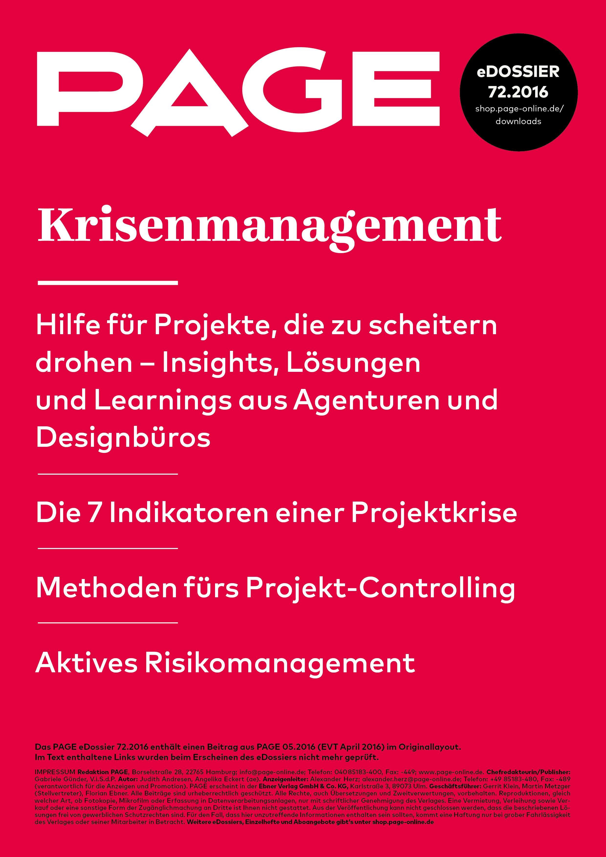 Krisenmanagement, Projektmanagement, Risikomanagement