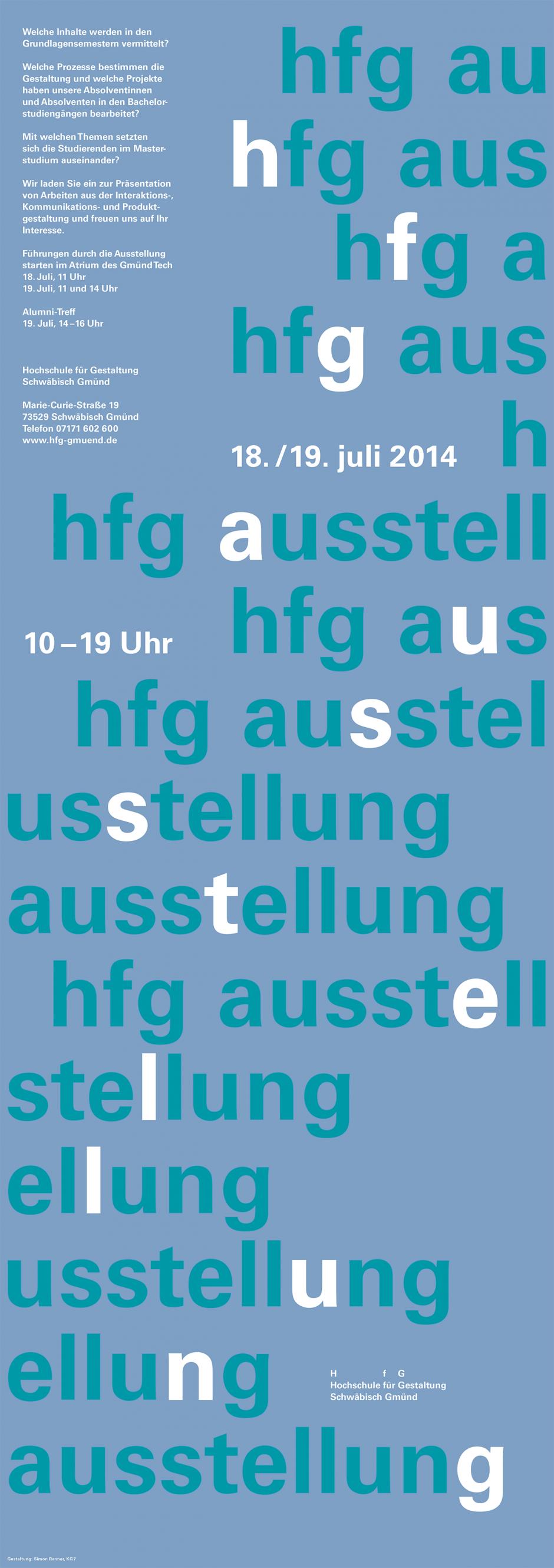 Sommersemester 2014, Hochschule für Gestaltung Schwäbisch Gmünd, 297 × 840 mm