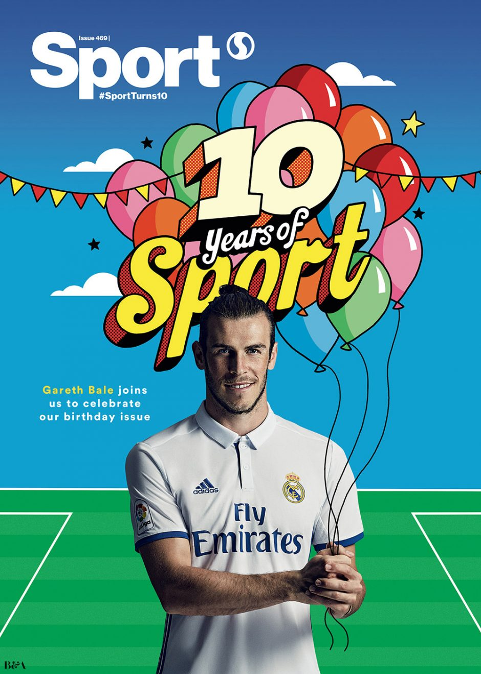 Mit einer Illustration des beliebten Serge Seidlitz aus New York gratuliert Fußballstar Gareth Bale zur Jubiläumsausgabe des Magazins »Sport«. www.sergeseidlitz.com/