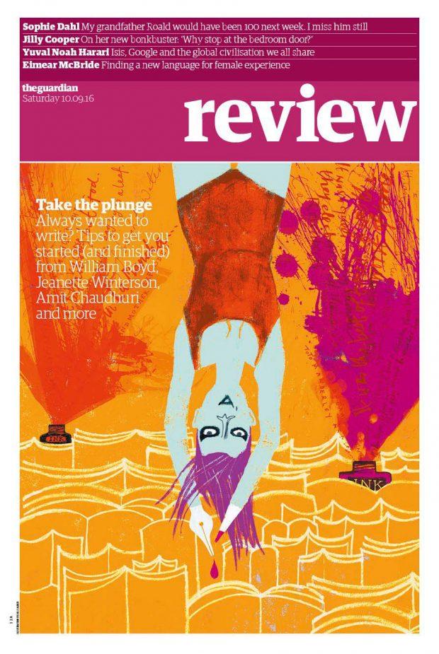 Jill Calder aus Schottland illustrierte dieses Titelbild der Review-Sektion des »Guardian«, das zum Sprung ins Schriftstellerleben auffordert. http://www.jillcalder.com/