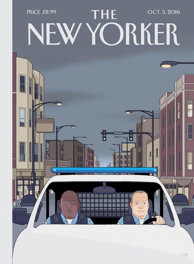 Noch ein Comic-Zeichner, ebenfalls aus Chicago: Hier zeichnet der legendäre Chris Ware ein schwarz-weißes amerikanisches Polizistenduo auf dem Weg zum nächsten Einsatz, bei dem es hoffentlich keine Verwechslungen zwischen Schuldigen und Unschuldigen gibt