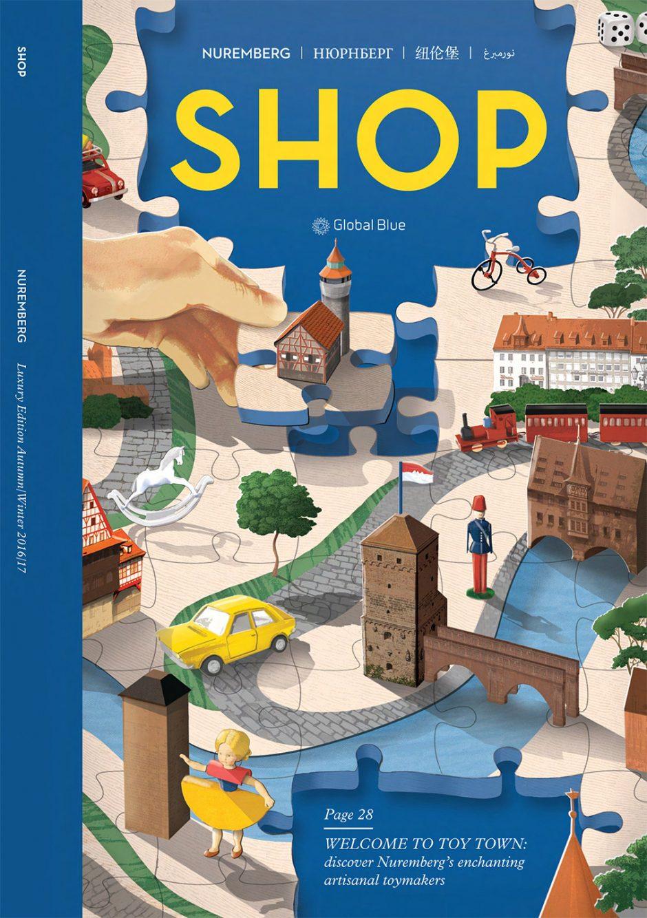Ein anderes Cover für das kostenlose »Shop«-Magazin. Hier inszeniert Sam Falconer Nürnberg als Stadt der Spielzeuge – natürlich wegen der berühmten Spielzeugmesse, die dort stattfindet. http://samfalconer.co.uk/