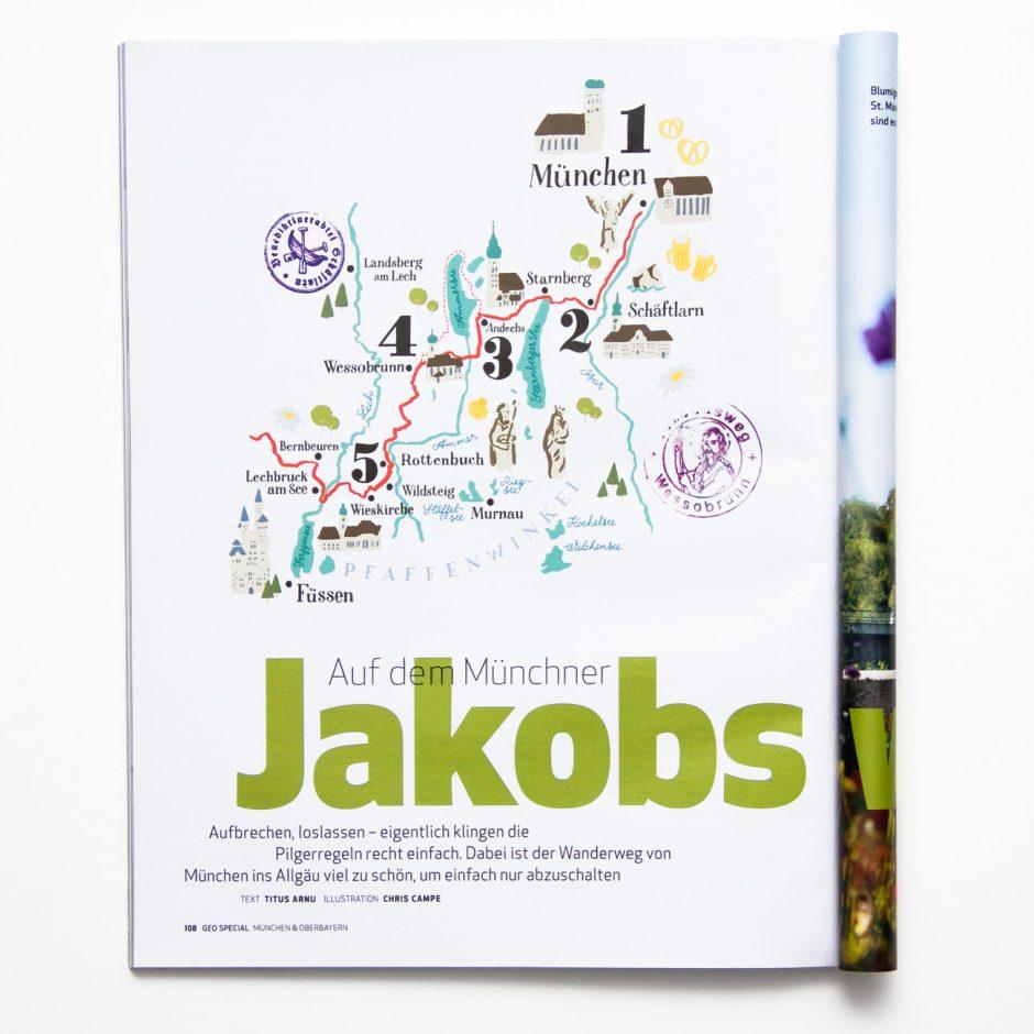 Illustrierte Landkarte zum Jakobsweg bei München, GEO Special München & Oberbayern, 2015