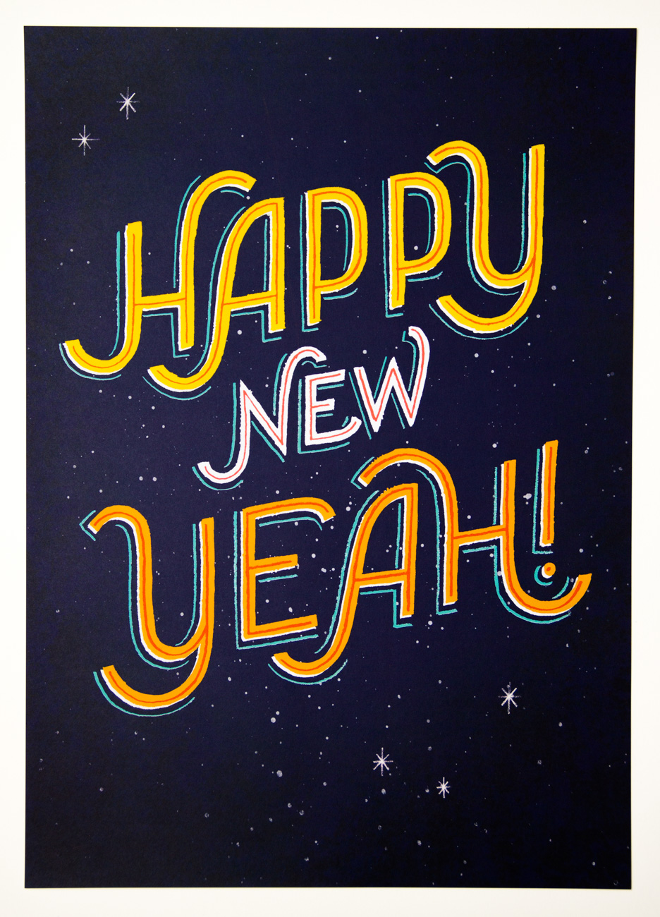 Hand-Lettering Poster als Neujahrsaussendung, 2015