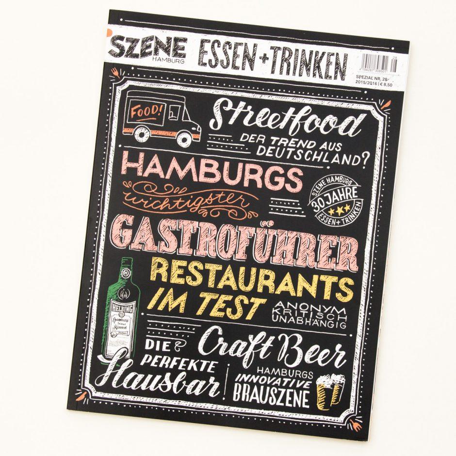 Covergestaltung und Lettering für den SZENE Hamburg Restaurantführer, Ausgabe 2015/2016