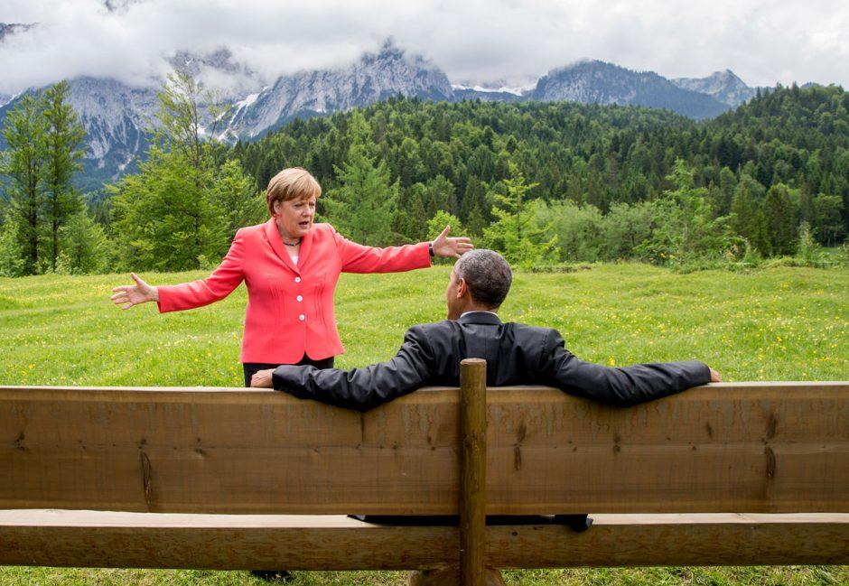 Silber: Gala Nr. 01/2016, Stern Nr. 53/2015 und View Nr. 12/2015, Gipfelgespräche, Barack Obama und Angela Merkel auf dem G7-Gipfel in Elmau, Fotograf Michael Kappeler