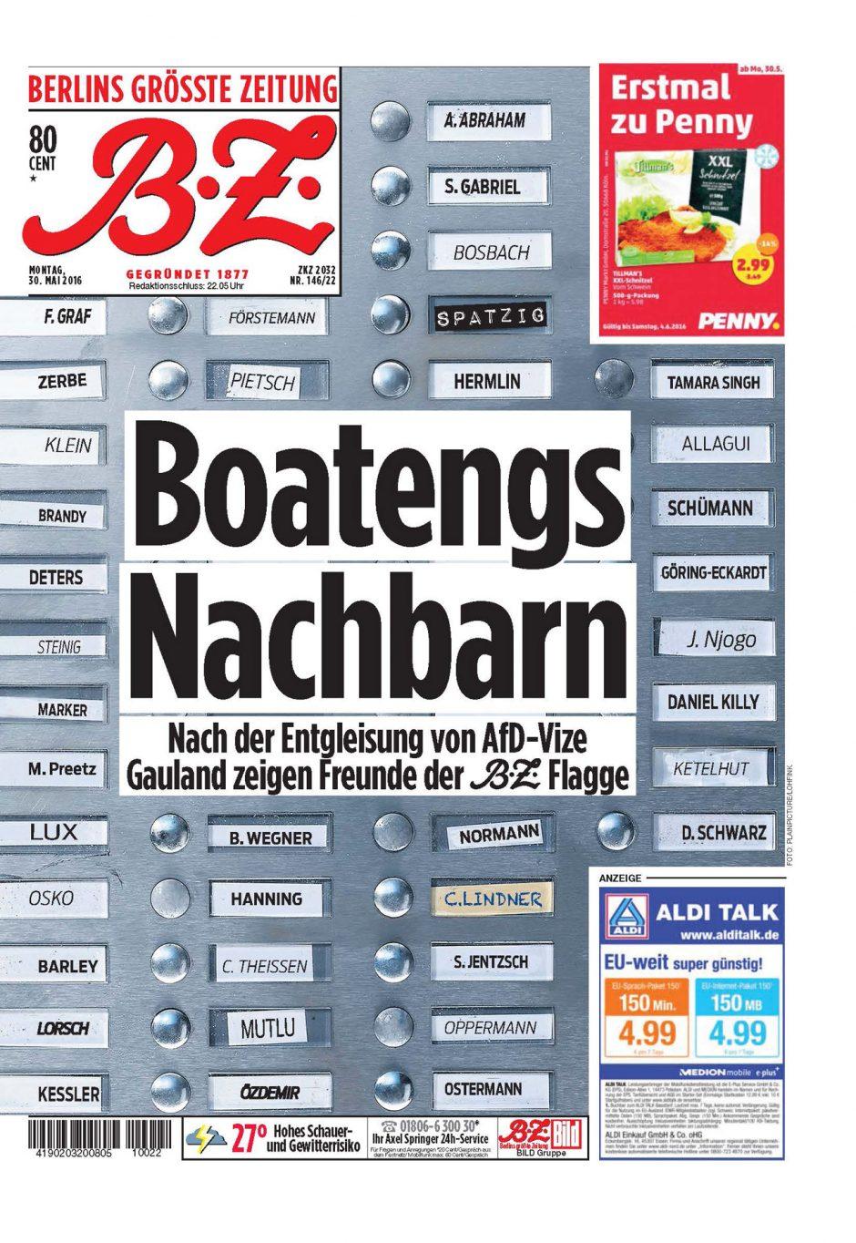 Gold: B.Z. Nr. 146/2016, Boatengs Nachbarn, Titelseite zur Äußerung von Alexander Gauland, die Leute »wollen einen Boateng nicht als Nachbar haben«