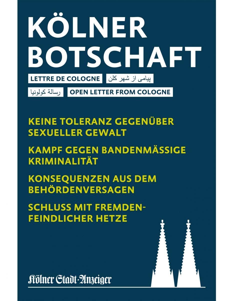 Bronze: Kölner Stadt-Anzeiger Nr. 55/2016, Kölner Botschaft, Manifest zu den massenhaften sexuellen Übergriffen in der Silvesternacht am Kölner Hauptbahnhof