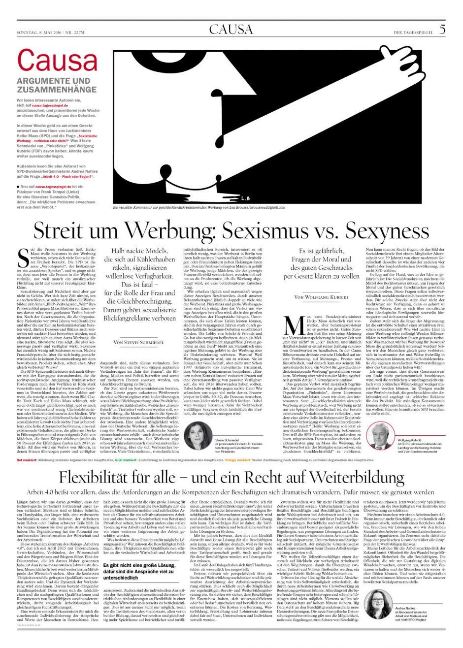 Gold: Der Tagesspiegel Nr. 323/2015 bis 137/2016, Causa, Illustratoren Lea Brousse und Raban Ruddigkeit