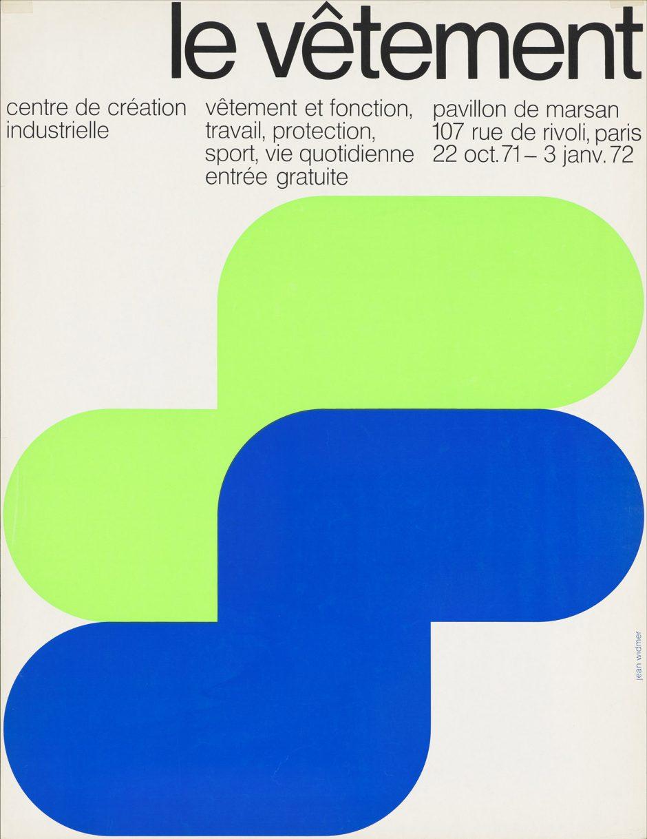 Jean Widmer, Le vêtement, Ausstellungsplakat Centre de Création Industrielle, 1971, Museum für Gestaltung Zürich, Plakatsammlung