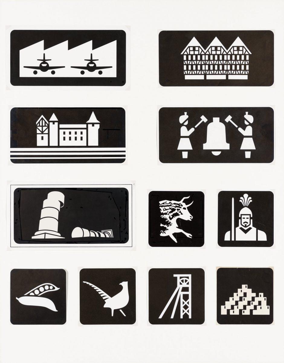 Visuel Design, Jean Widmer, Animation touristique des autoroutes, Druckvorlage der Piktogramme, 1972 - 1978, Museum für Gestaltung Zürich, Grafiksammlung