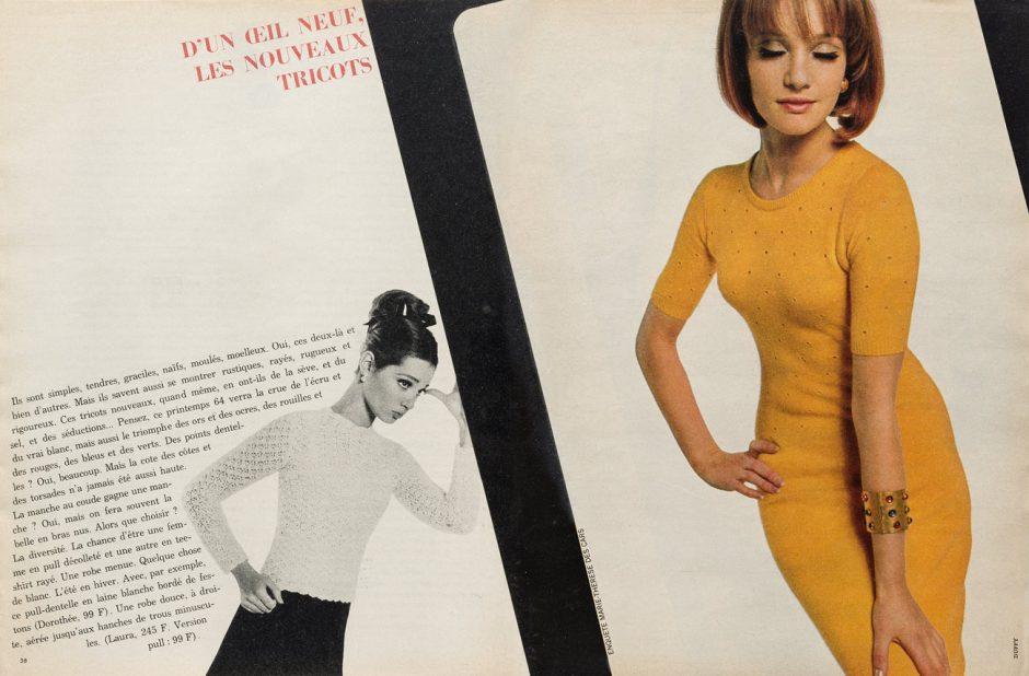 Peter Knapp (Art Director), Brian Duffy(Foto), D'un oeil neuf, les nouveaux tricots, Zeitschrift Doppelseite, in: Elle No. 944, 1964, Museum für Gestaltung Zürich, Grafiksammlung