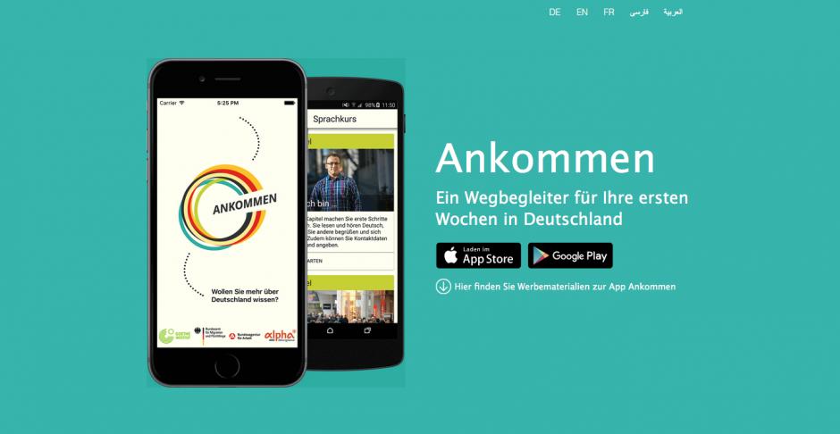Gold: Ankommen (App), Goethe-Institut, Bundesamt für Migration und Flüchtlinge und ARD alpha