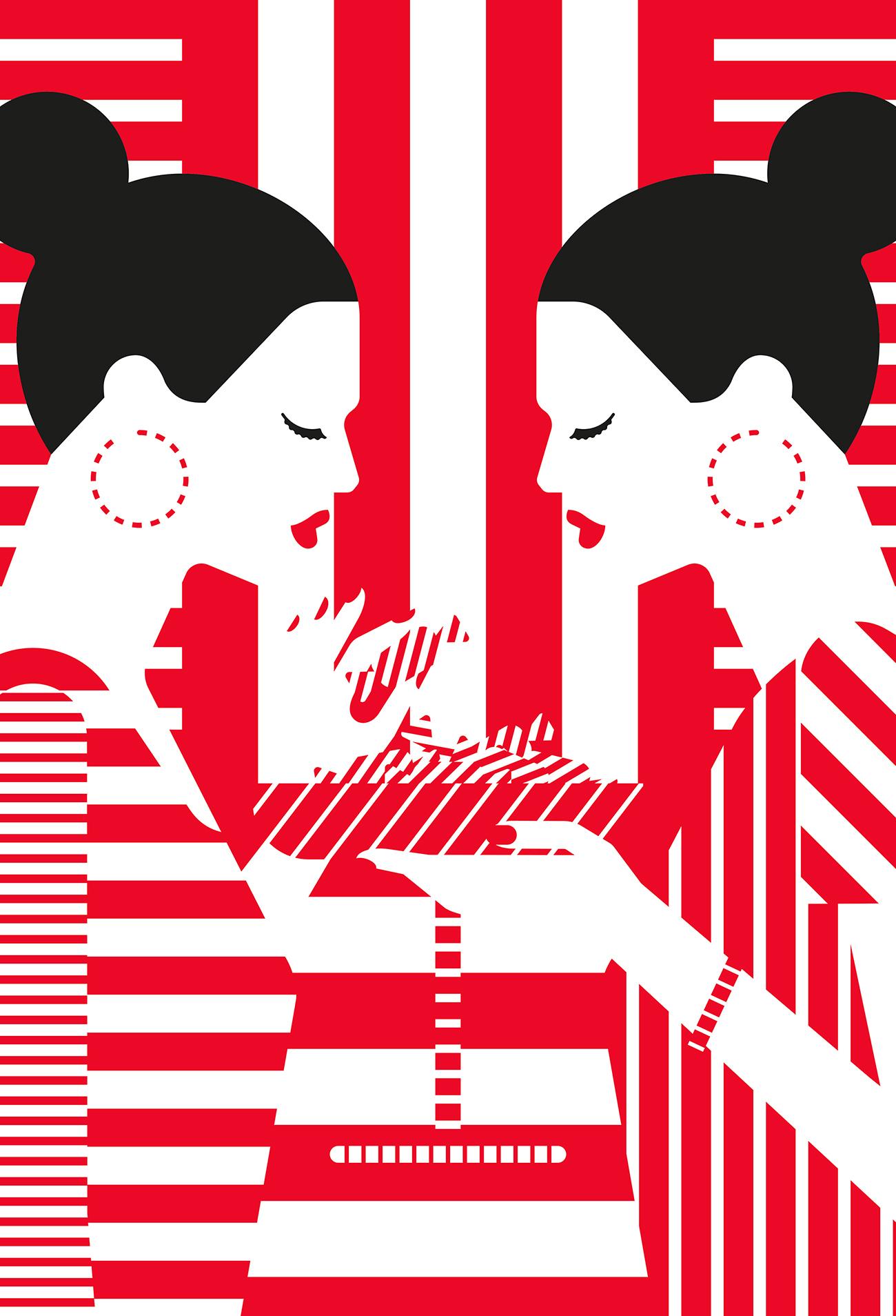 Für eine Kampagne der finnischen Marianne-Bonbons von Fazer griffen Craig & Karl das typische rotweiße Streifenmuster der Verpackung auf. http://agentpekka.com/artist/craig-karl/
