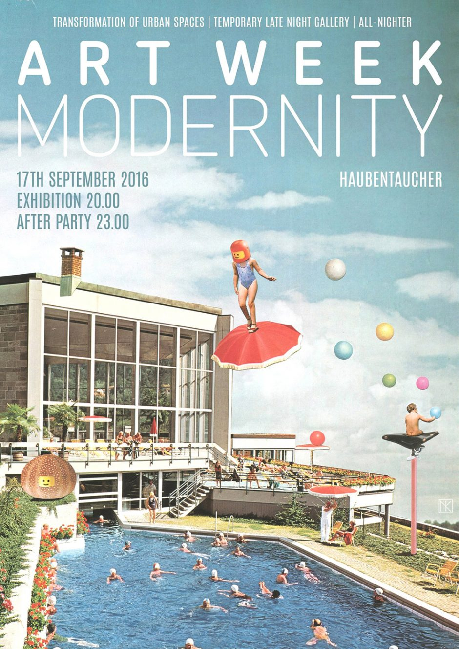 ARTWEEK Modernity (Poster):  Poster design created for this year's event »Modernity« at Haubentaucher during the Art Week in Berlin. I've customized the collage a bit for use on the internet. (Text by Shoxxx)