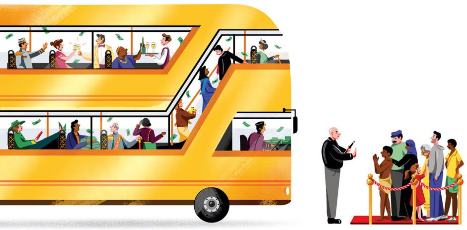 Soziale Ungleichheit: Ein Doppeldeckerbus mit den 62 reichsten Menschen der Welt würde so viel Vermögen zusammenbringen wie die ärmere Hälfte der Menschheit
