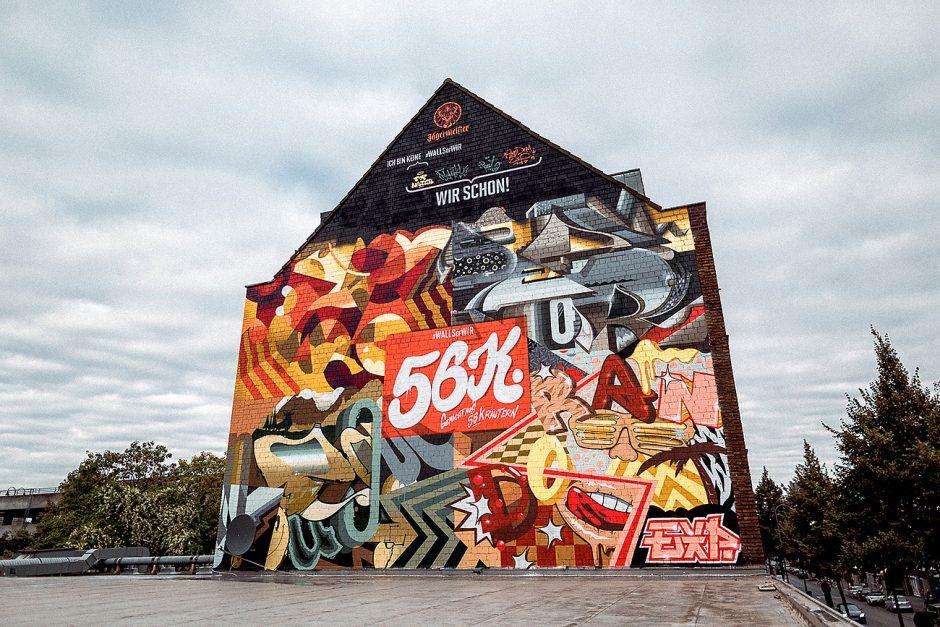 Das fertige #wallsofwir Gemeinschaftswerk nur echt mit den 56K in Köln Ehrenfeld auf der Venloer Straße 395.