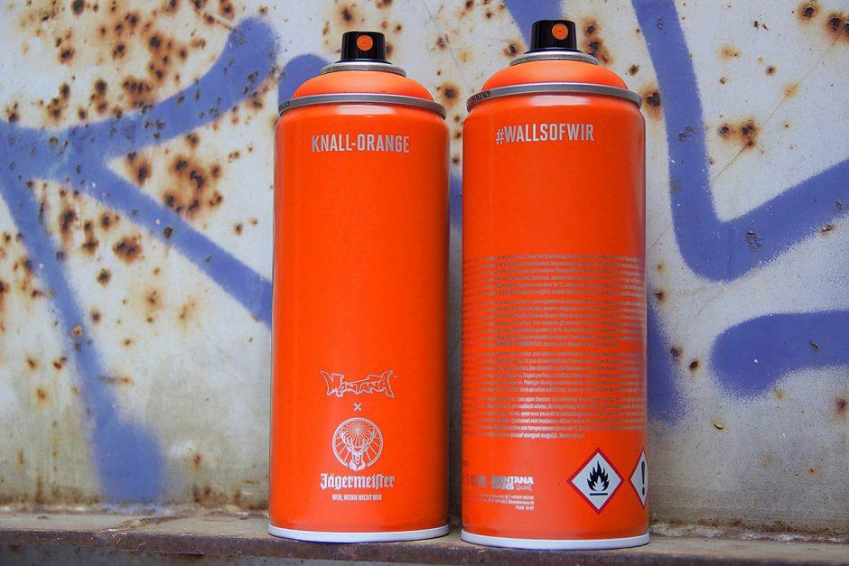 Die schnell vergriffene Sonderedition von Jägermeister x Montana Cans in Knall-Orange.