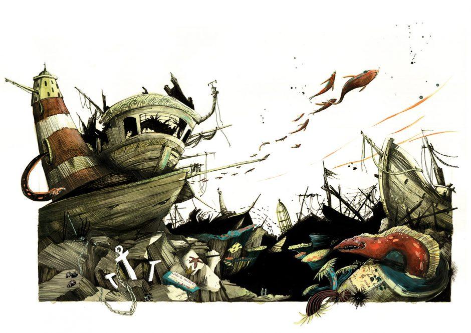 Reihe: 20.000 Meilen unter dem Meer, »Schiffsfriedhof«, Bologna Children's Book Fair