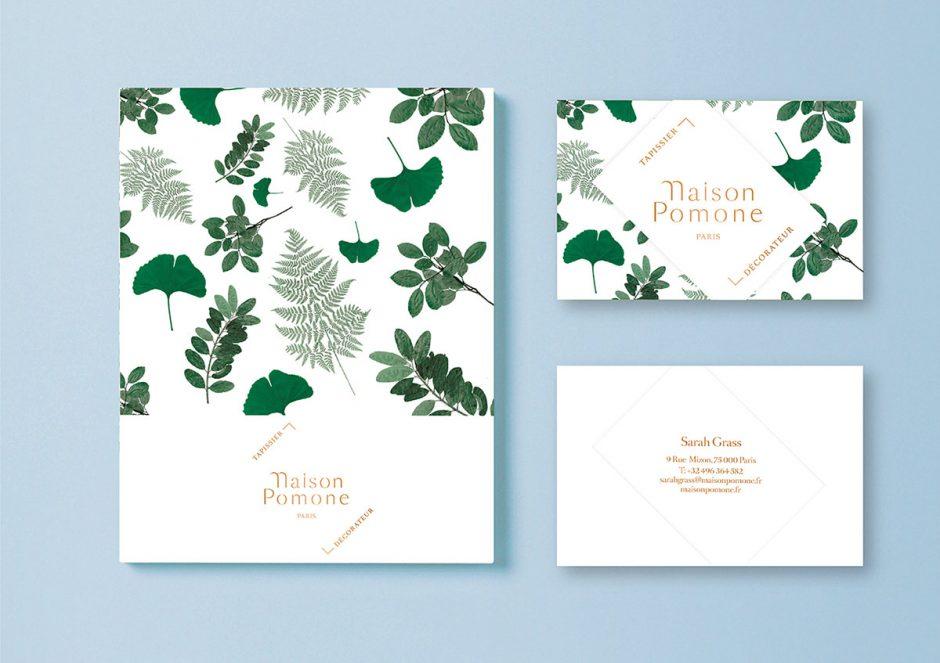 Maison Pomone ist ein Möbel-Restaurationsbetrieb, für den Pilette ein floral-französisiertes Erscheinungsbild mit zeitgeistigen Akzenten entwarf