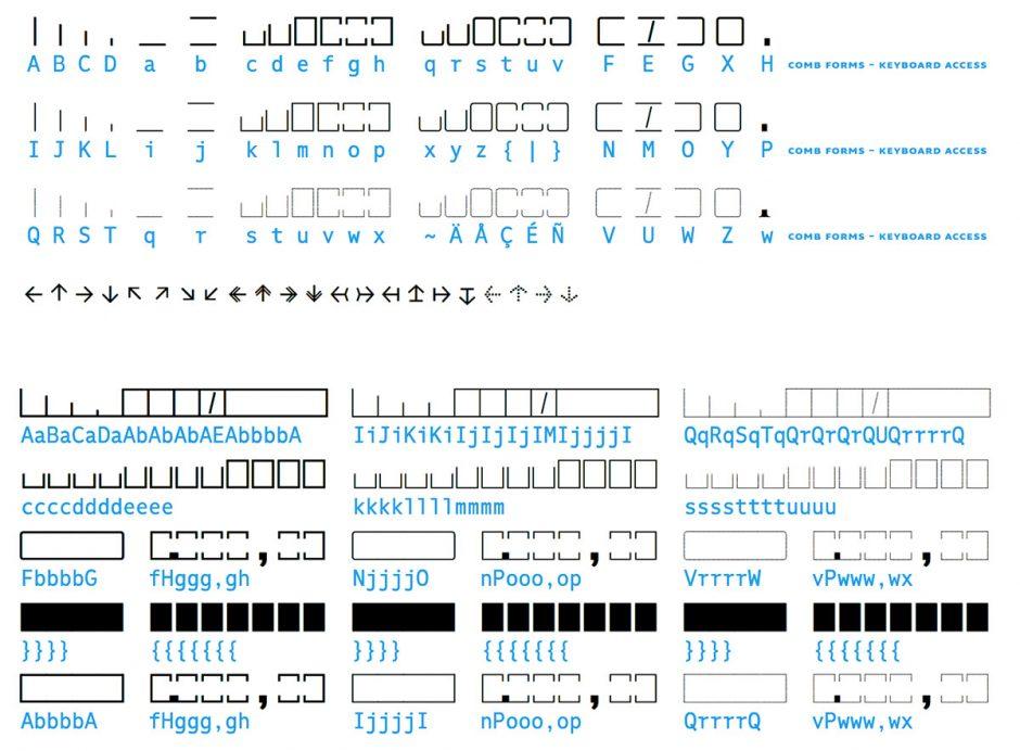 Comb ist eine ausgewogene monospaced Schrift, die Berlaen 2010 speziell für die Gestaltung von Formularen entwarf und die seitdem über OurType vertrieben wird.