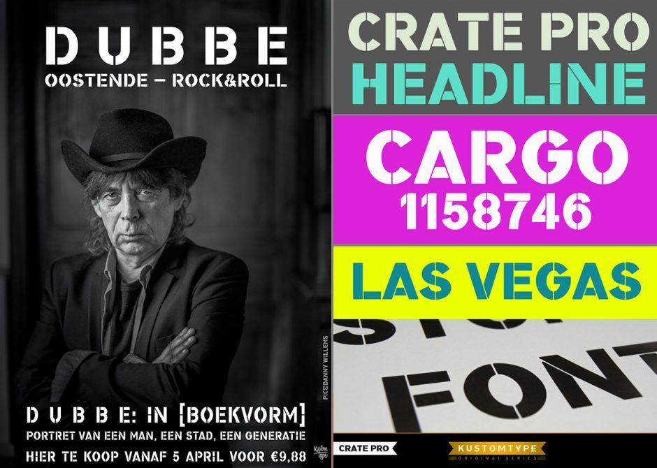 De Dekker hat bei Kustomtype natürlich auch Schablonenschriften im Programm. Die kantige Crate Pro verwendete er selbst für das Design von Promo-Material der belgischen Punk- und Rock'n'Roll-Band Revenge 88 und deren ikonischen Sänger Frank Dubbe.