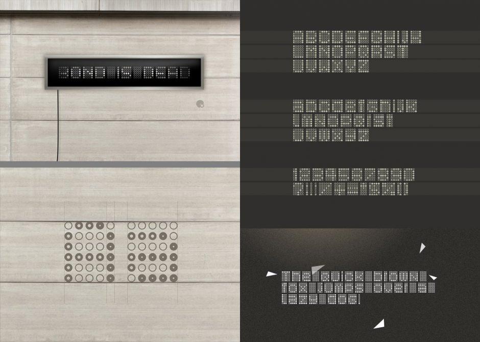 In eine andere Richtung gehen die konstruierten Fonts Amsterdam Superstar und Bond is Dead. Beide gehen bis an die Grenzen der Lesbarkeit. Aufgrund alternativer Zeichensätze mit konträr gefüllten Letterformen lassen sich spannende Schriftbilder kreiieren, besonders bei Überlagerungen