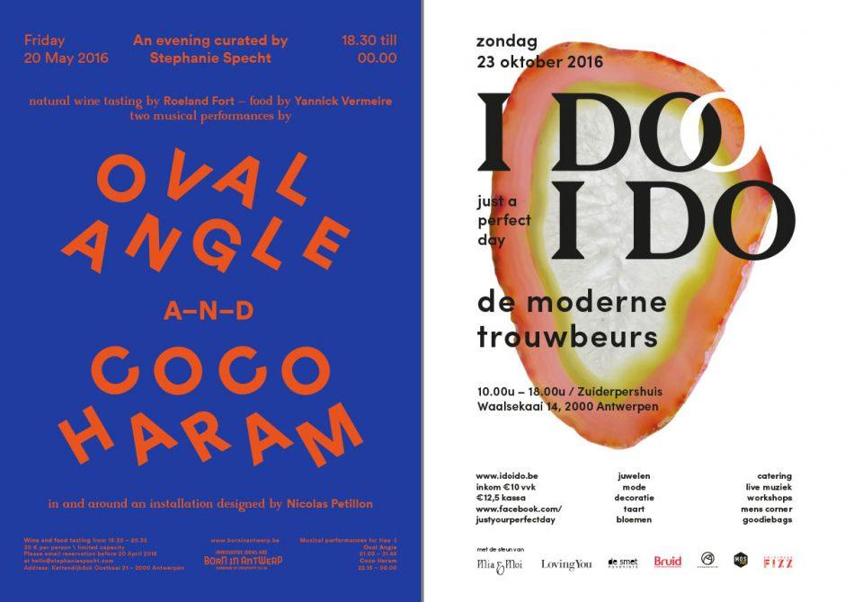 Ihr minimalistischer Gestaltungsansatz basiert auf einfachem Formenspiel, das sie hautsächlich mit Typo und Farben inszeniert – wie bei diesen beiden Poster im Umfeld Kunst, Musik und Mode