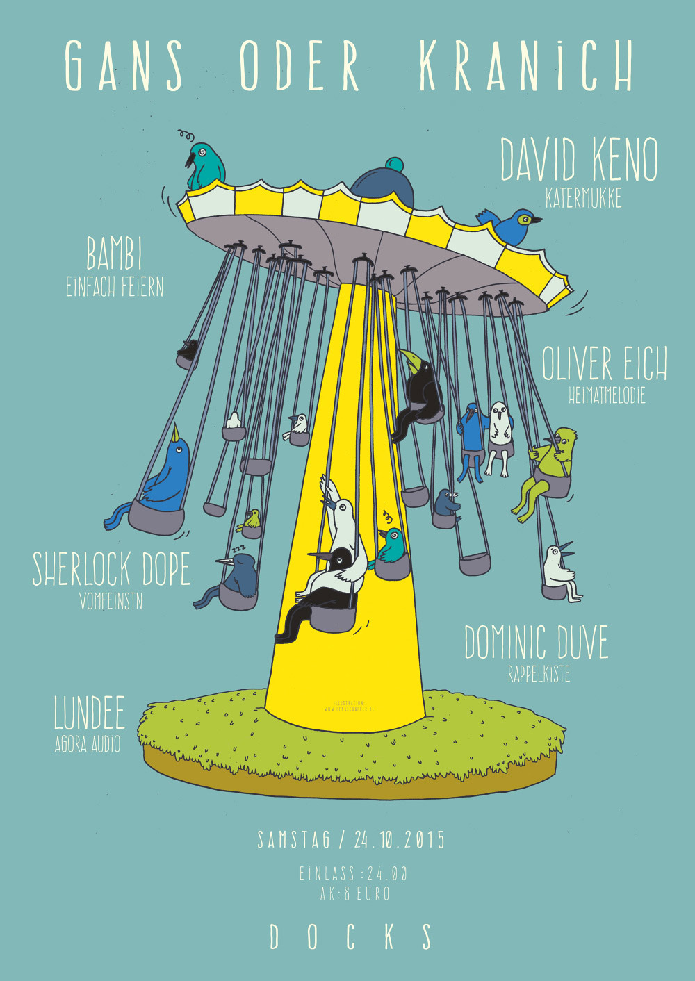 Lena Schaffer gestaltet seit 2014 zauberhafte Plakate für die Techno-Party-Reihe »Gans oder Kranich« im Hamburger Docks