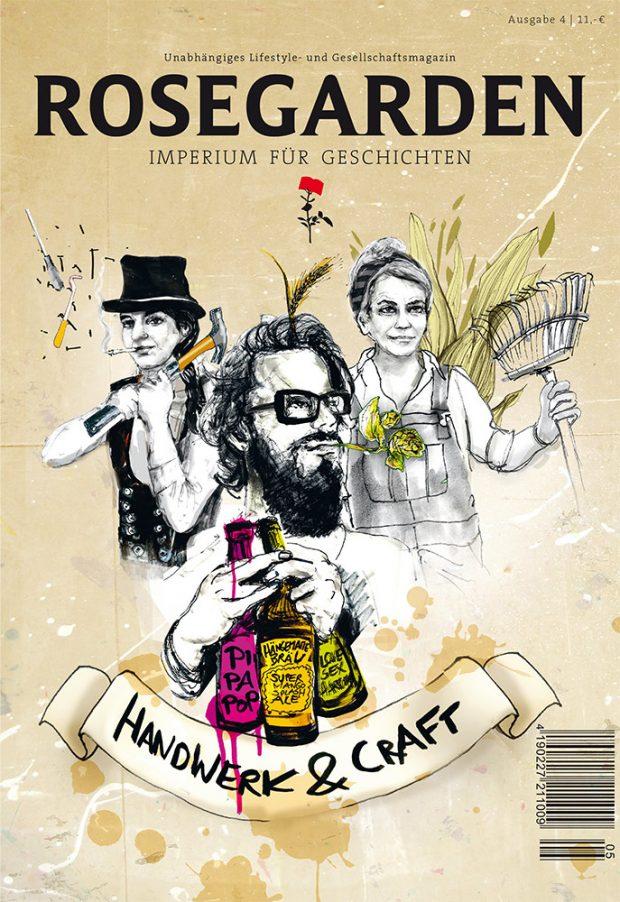 Die neueste Ausgabe von »Rosegarden« erscheint am 19. Januar, die Cover-Illustration zum Thema Handwerk & Craft lieferte Anna Franke. www.annafranke.com/