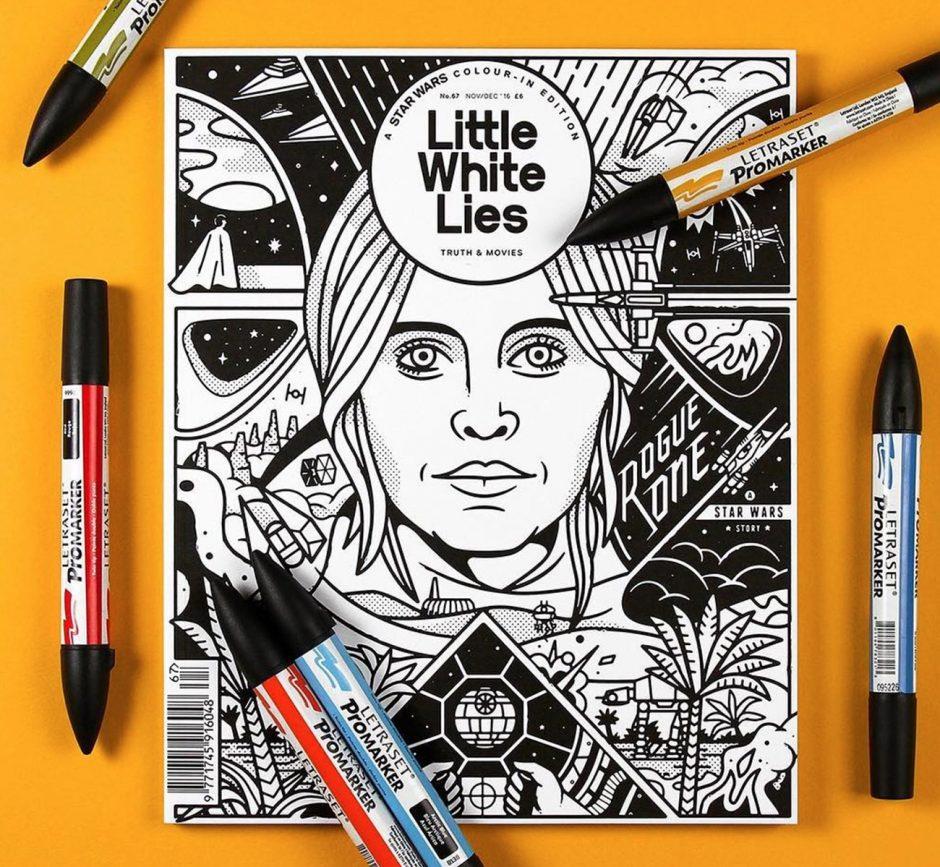 Zum Ausmalen ist dieses Cover von Chris DeLorenzo für das bekannte amerikanische Filmmagazin gedacht, das immer mit einem illustrierten Titelbild aufwartet. www.chrisdelorenzo.com